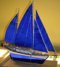 Vidrio azul modelo vela barco grande OOAK por Glassquirks en Etsy