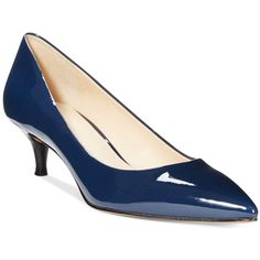 Nine West Illumie Kitten Heel Pumps Women's Shoes ($79) ❤ liked on Polyvore featuring shoes, pumps, navy patent, navy blue patent leather shoes, navy kitten heel pumps, nine west pumps, patent leather shoes and pointed-toe pumps
