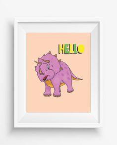 Hello,Dinosaur Print,Dinosaur Wall Decor,Dinosaur Art Retro,Nursery Decor,digital Prints,Playroom Decor,Fun Nursery Art,Baby Art Print,