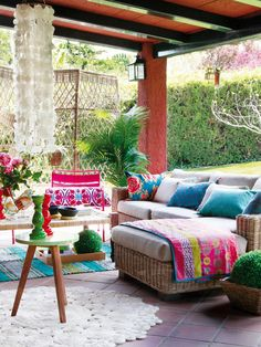 Colorful terrace, Outdoor living, Bright Blue, Pink, Patio Furniture, Relaxing, Outdoor pillows & Rug.