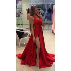 V-neck Sleeveless Red Slit Prom Dresses,evening dresses from SheDress ❤ liked on Polyvore featuring dresses, slit prom dresses, v neck prom dresses, red dress, slit dress and v neck cocktail dress