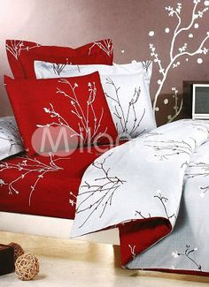 4-pc Grey And Red Jacquard Floral Satin Drill Cotton Satin Duvet Cover Bedding Set
