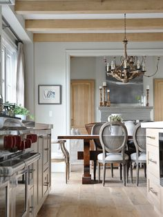 Though this Langley, B.C., home is a new build, its interiors have a European farmhouse vibe. Refined pieces like turned-leg dining chairs and an ornate chandelier look rustic rendered in weathered wood