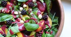 Looking for the perfect Easter food?   This Nectarine Salad With Blackberry Dressing is vegan, healthy, simple and portable!