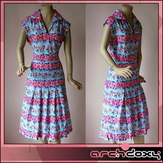 Vintage 1970s Pretty Bohemian Print Floral Shirtwaist Pink & Blue Dress #boho  http://www.ebay.co.uk/itm/Vintage-1970s-Pretty-Bohemian-Print-Floral-Shirtwaist-Pink-Blue-Dress-UK14-/371655819298