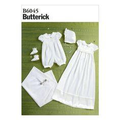 Butterick 6045 Baby Christening Dress Suit Bonnet BIB Sewing Pattern B6045 | eBay