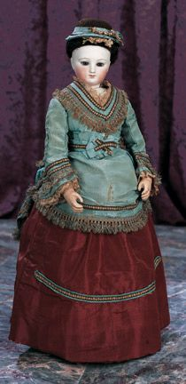 Theriault's Antique Doll Auctions - Beautiful French Bisque Poupee with Wooden Articulated Body circa 1865