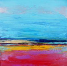 "Abstract Landscape 'Lyrical Landscape 2' - acrylic painting on canvas - size 30cm x 30cm (12"" x 12"")"