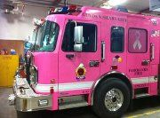 Instead of pink shirts, Fairbanks, AK Local 1324 received a gracious donation from a local auto trim business (Autotrim Design) to have FFD E-1 wrapped pink for 30 days. E-1 is the busiest engine in the interior of Alaska and in last year's Firehouse run survey was #52 in the country of reporting departments. The Engine will be run as normal on emergency calls as well as attend special events to help raise awareness for breast cancer.
