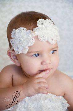 8901e58dba0 Items similar to White Ruffle Flower Headband Baby Headband