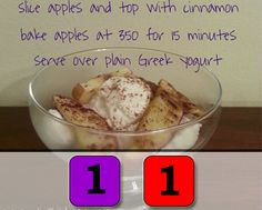 Greek Yogurt w/Baked Apples (1 Red | 1 Purple) For more 21 Day Fix approved recipes, please visit fixapprovedforyou.com