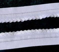 Elástico borda decorada Branca 25mm- Pç com 5 M