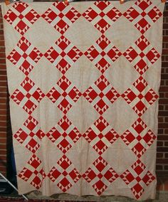 Vibrant Vintage 1890's Turkey Red White Bear Paw Antique Quilt Top