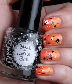 Orange Gradient with Black and White chunky glitter #nails