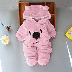 Girls' Baby Clothing Solid Cartoon Bear Newborn Baby Girl Boy Velvet Hooded Jumpsuit Romper Clothes Rompers Winter Warm Fleece Clothing Set With The Best Service