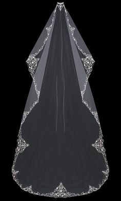 Just stunning! Cathedral Mantilla Wedding Veil with Beaded Silver Embroidery - Affordable Elegance Bridal -