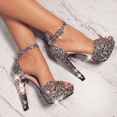Trendy High Heels For Ladies : Laurenz Art & Design … – Shoes Office Prom Heels, High Heels For Prom, Glitter High Heels, Silver High Heels, Sparkle Heels, Prom Shoes Silver, Sparkly Shoes, Black High Heels, Fashion Heels