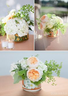 peach garden wedding centerpieces