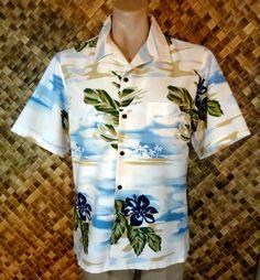 NWOT - CINTAS Mens HAWAIIAN BOATING PALM ISLAND HIBISCUS Print Shirt - XL #Cintas #Hawaiian