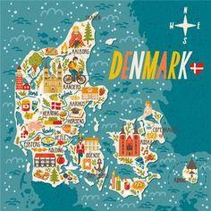 Denmark Map, Denmark Travel, Copenhagen Denmark, Aalborg, Odense, Aarhus, Vejle, Map Design, Travel Design