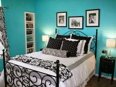 Blue Pattern Teenage Girl Bedroom Ideas Wall Color