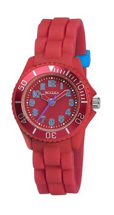 Vrolijk en mooi, dit rode kinderhorloge met blauwe cijfers van het leuke kinderhorloge merk Tikkers.