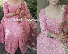 Pink flaired anarkali ethnic gown readymade dress with chiffon | Etsy