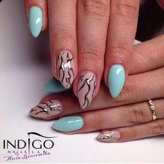 by Ania Leśniewska Indigo Educator :) Double Tap if you like #mani #nailart #nails #babyblue Find more Inspiration at www.indigo-nails.com