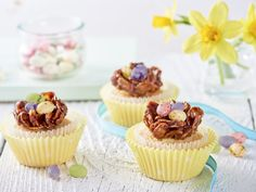 Try our Stork Easter Nest Cupcakes recipe. Decorated with mini-eggs, and filled with chocolate they are delicious! Chocolate Easter Nests, Easy Bake Cake, Great British Bake Off, Mini Eggs, Baking With Kids, Food Cakes, Cup Cakes, Recipe Images, Cacao