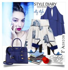 """Blue blouse"" by creativity30 ❤ liked on Polyvore featuring MANGO, Monnalisa, Prada and Paul Andrew"