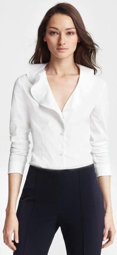 Inspiration -Escada Ruffled Collar Blouse