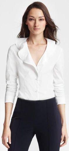5b51ad62fc3c7 Escada Ruffled Collar Blouse Blusas Blancas