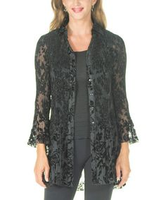 Loving this Black Velvet Button-Up Tunic on #zulily! #zulilyfinds
