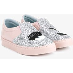 Chiara Ferragni Flirting Glitter Embellished Slip-On Sneakers (118.465 CLP) via Polyvore featuring shoes, sneakers, slip-on sneakers, leather trainers, glitter shoes, leather slip on sneakers y low profile sneakers