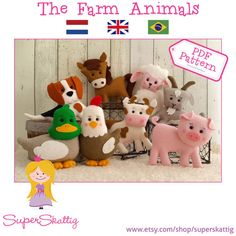 PDF pattern The Farm Animals, felt pattern cow, lamb, duck, chicken, horse, goat, pig, dog by Superskattig