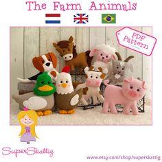 PDF pattern The Farm Animals, felt pattern cow, lamb, duck, chicken, horse, goat, pig, dog by Superskattig