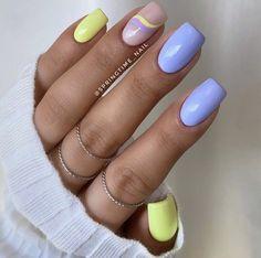 Cute Gel Nails, Shellac Nails, Hot Nails, Nail Manicure, Yellow Nails, Pastel Nails, Purple Nails, Stylish Nails, Trendy Nails