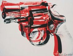 Andy Warhol - Gun, c. 1981-82 (black and red on white)