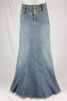 Fantastic Flared Long Jean Skirt, Size 6-18: theskirtoutlet.com