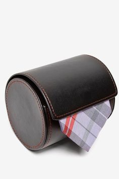 Black Leatherette Tie Case - Tie Storage and For Travel
