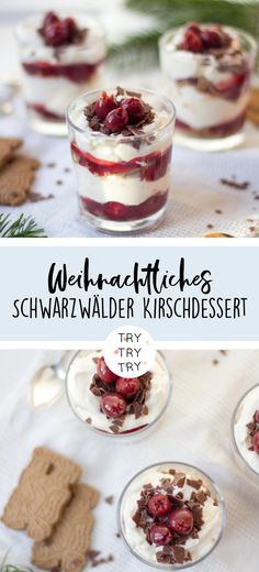 Weihnachtliches Schwarzwälder Kirschdessert im Glas - # Desserts In A Glass, Cherry Desserts, Desserts For A Crowd, Mini Desserts, Christmas Cooking, Christmas Desserts, Cookie Recipes, Dessert Recipes, Dessert For Two