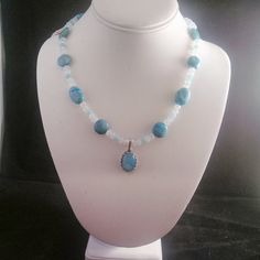 Crazy Lace Agate in a beautifule blue, moonstone, silver overlay bySmokynBluDesigns