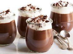 Triple-Chocolate Pudding recipe from Food Network Magazine Pudding Desserts, Chocolate Pudding Recipes, Dessert Recipes, Vegan Pudding, Chocolates, Melting Chocolate, Hot Chocolate, Just Desserts, Food Network Recipes