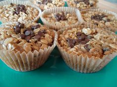 Backed oatmeal Cups. they are wonderful! we made them with the preschool kids and put coconut, and almonds in it and then topped them with raisins and coconut.