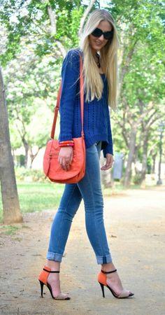 blue sweater + jeans + orange heels.