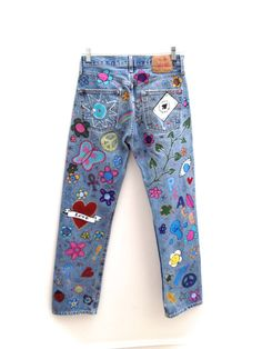 Hand Painted Psychedelic Vintage Levis 501 Jeans By by HAMELWOOD