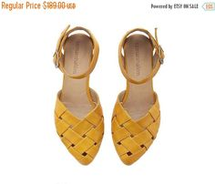 ON SALE Yellow braided handmade Leather  flat by TamarShalem