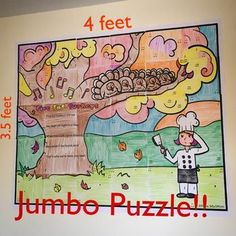 JUMBO Color by Music Note Mosaic for a Thanksgiving Music Lesson on Five Fat Turkeys. 30 Pieces creates 4 x 3.5 feet of colorful artwork for your bulletin board or music classroom wall! So fun for kids to work together assembling this puzzle! #sillyomu