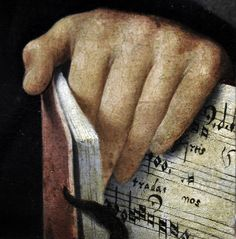aperfectcommotion: Il Pordenone (1483–1539): Portrait of a Musician. Detail: hand and sheet music booklet (1515 - 1520?) (speciesbarocus)...
