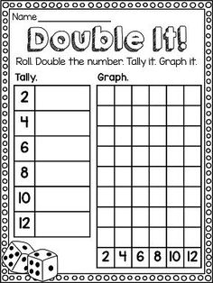 """Awesome dice math game!! """"Double It!"""" math center to practice DOUBLES! Also great graphing practice."""